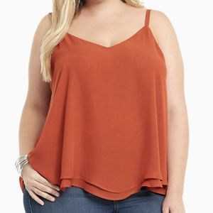 DOUBLE LAYERED CHIFFON CAMI  In rust flowy tank